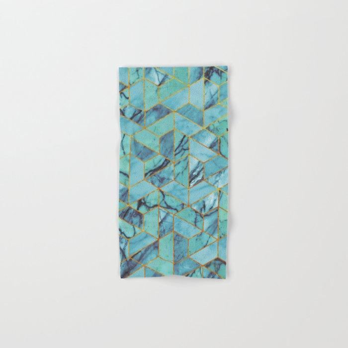 Blue Marble Hexagonal Pattern Hand & Bath Towel