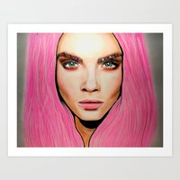 cara Art Prints featuring CARA by Zayn Al-Qahtani