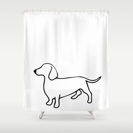 Dachshund Line Art Drawing Shower Curtain