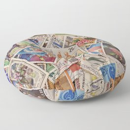 Stamps of the World Floor Pillow