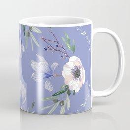 Floral Square Blue Coffee Mug