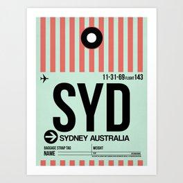 SYD Sydney Luggage Tag 1 Art Print