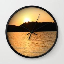 Sun Sets On The Lake Wall Clock