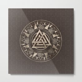 Valknut Symbol  - Brown Leather and gold Metal Print