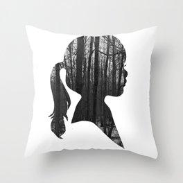Forest girl Throw Pillow