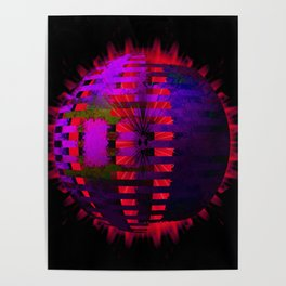Purple Layered Star in Red Flames Poster