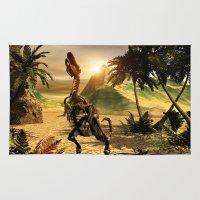 trex Area & Throw Rugs featuring Tyrannosaurus skeleton by nicky2342