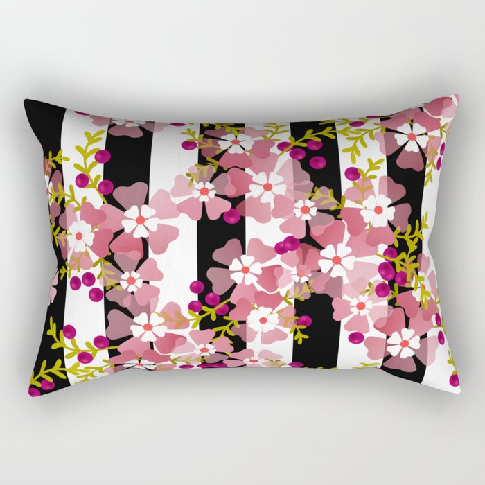 Floral Pattern Black And White Striped Background Rectangular Pillow