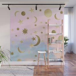 Pastel Starry Sky Moon Dream #1 #decor #art #society6 Wall Mural