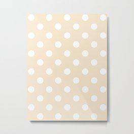 Polka Dots - White on Champagne Orange Metal Print