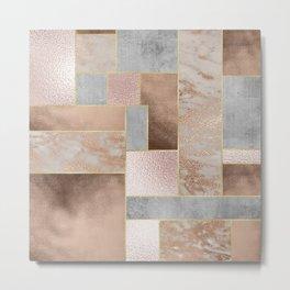Copper and Blush Rose Gold Marble Quadrangle Geometrical Shapes Metal Print