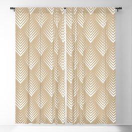 Modern White Almond Leafs Pattern Blackout Curtain