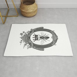 Queen Bee | Vintage Bee with Crown | Black, White and Grey | Rug