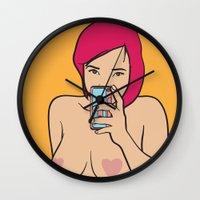 selfie Wall Clocks featuring Selfie by richoz