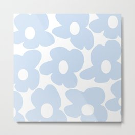 Large Baby Blue Retro Flowers White Background #decor #society6 #buyart Metal Print