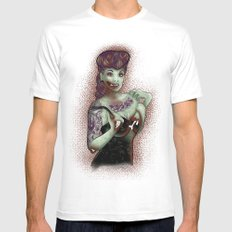 Zombie Pinup MEDIUM White Mens Fitted Tee