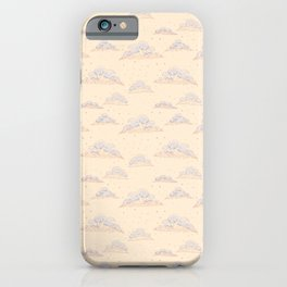 Cute clouds with colored pencil imitation design iPhone Case