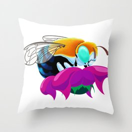 Blue Banded Bee Throw Pillow