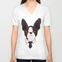 boston terrier V-neck T-shirts featuring Boston Terrier by brit eddy