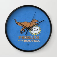trex Wall Clocks featuring problem solved... trex with arms.. by studiomarshallarts
