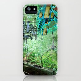 Digital Circuit Jungle Tree, creatures of the electronic age iPhone Case