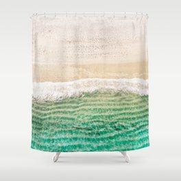 Gold and Aqua Aerial Beach Shower Curtain