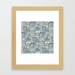Seattle indigo pale chambray Framed Art Print