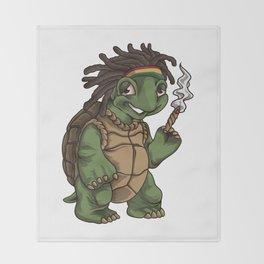 Weed Smoking Turtle | Cannabis THC CBD Rasta Throw Blanket
