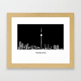 Toronto Skyline - White ground / Black Background Framed Art Print