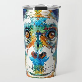 Colorful Chimp Art - Monkey Business - By Sharon Cummings Travel Mug