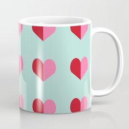 Heart love valentines day hearts pattern mint red valentine pattern Coffee Mug