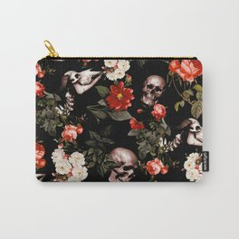 Floral and Skull Dark Pattern Carry-All Pouch