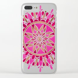 Mandala – Pink & Rose Gold Clear iPhone Case