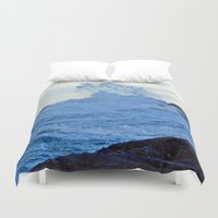 geology Duvet Covers featuring Exploding Surf  by DanByTheSea