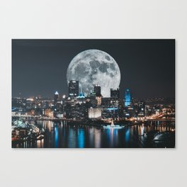 PGH #6 // Super Moon over Pittsburgh Canvas Print