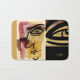 """Funky Face Abstract, """"I See 38"""" by Kathy morton Stanion Bath Mat"""