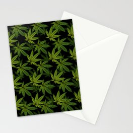 Cannabis Leaf - Black Stationery Cards