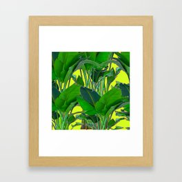 DECORATIVE TROPICAL GREEN FOLIAGE & CHARTREUSE ART Framed Art Print