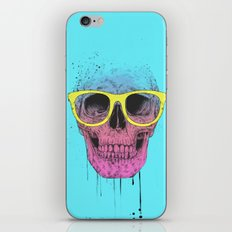Pop art skull with glasses iPhone & iPod Skin