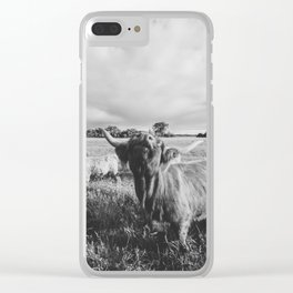 Black and White Highland Cow - Moo Clear iPhone Case
