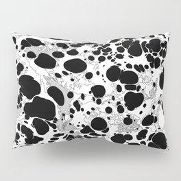 Black White Gray Monochrome Bubble Dots Spilled Ink Mess Effect Pillow Sham