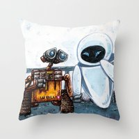 wall e Throw Pillows featuring Wall-E by Agui-chan