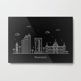 Honolulu Minimal Nightscape / Skyline Drawing Metal Print
