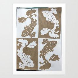 Koi Fish paper cut Art Print