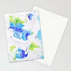 Blue & Green World Map Stationery Cards