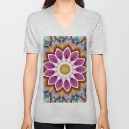 Happy Fuschia Flower Kaleidoscope Unisex V-Neck