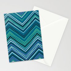 Chevron pattern with thin zigzag lines Stationery Cards