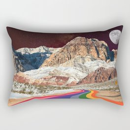 Retro Road Curves // Red Rock Canyon Collage Milky Way Galaxy Stars Moon 1960s Colors Rectangular Pillow