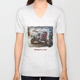 Waiting For a Fare.. Unisex V-Neck