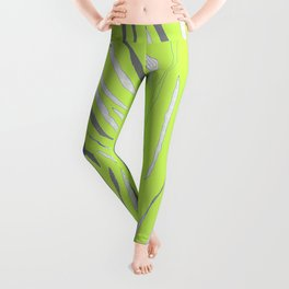 Black House Cat on Grass Leggings